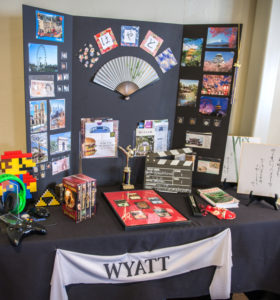 Wyatt's display table showing his travels and his passions